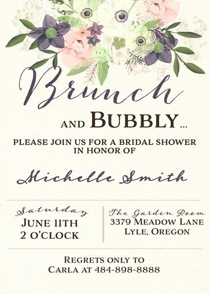 Watercolor Brunch and Bubbly Bridal Shower Invitation   Papeterie ...