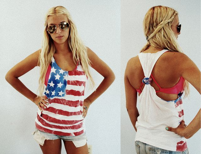 Spray painted American flag tank top for Fourth of July celebrations.