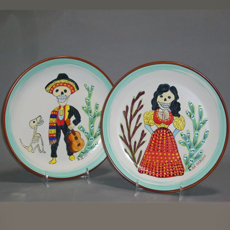 The Most Happy Couple - Set of 2 Day of the Dead handpainted dinner plates & The Most Happy Couple - Set of 2 Day of the Dead handpainted ...