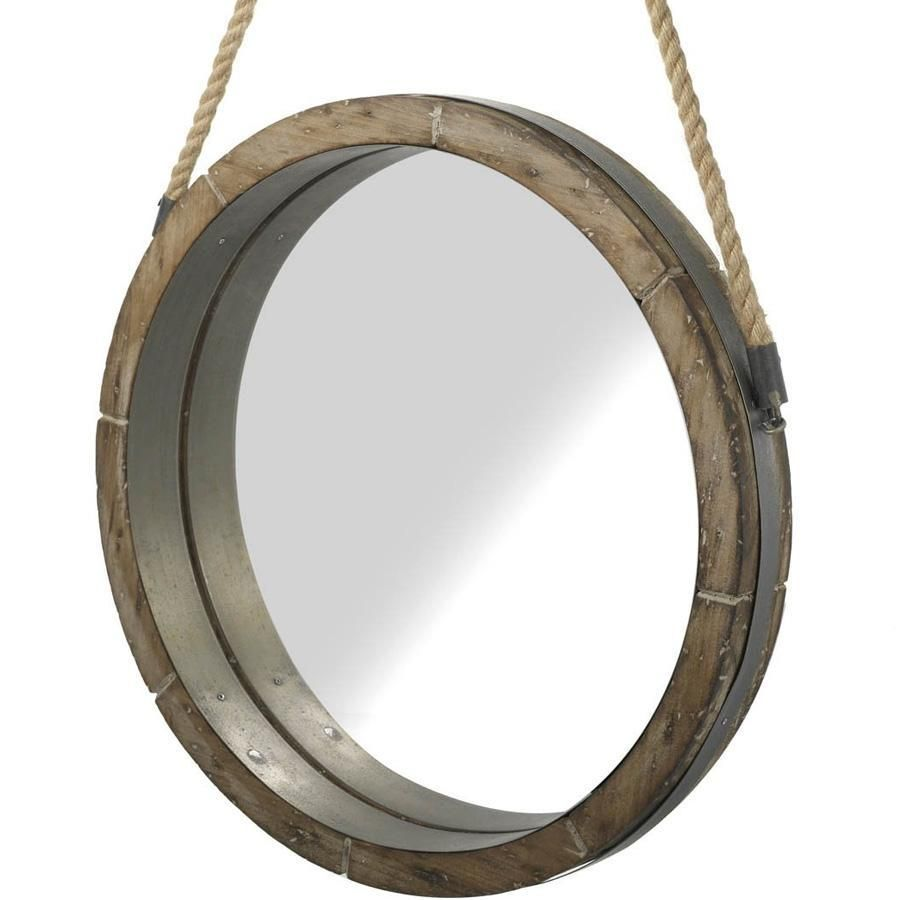 Rustic Wooden Round Hanging Rope Mirror Home