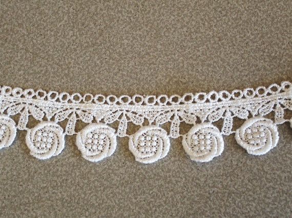 NEW GUIPURE  LACE TRIM RIBBON WHITE 2CM WIDE SEWING CRAFTING 2 YARDS