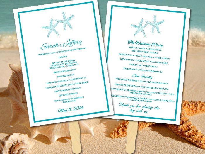 Beach Wedding Program Fan Template Ceremony Program Quot Lazy Starfish Quot Ocean Instan Beach Wedding Programs Beach Invitations Beach Wedding Invitations