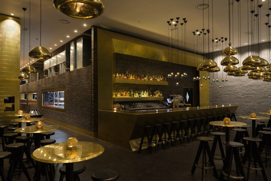 restaurant design luxury interior mini bar design with bar stool in brick wall restaurant. Black Bedroom Furniture Sets. Home Design Ideas