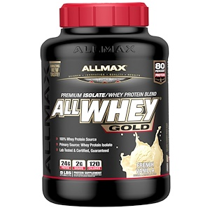 Allmax Nutrition Allwhey Gold 100 Whey Protein Premium Whey Protein Isolate French Vanilla 5 Lbs 2 27 Kg 단백질 땅콩버터 생일케이크