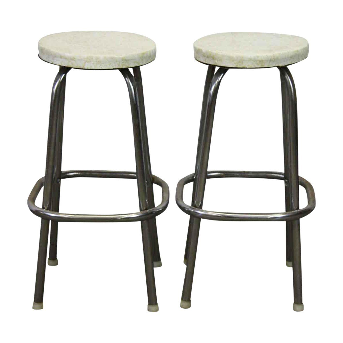 Awesome Round White Vinyl Metal Stools A Pair In 2019 Adams Cjindustries Chair Design For Home Cjindustriesco