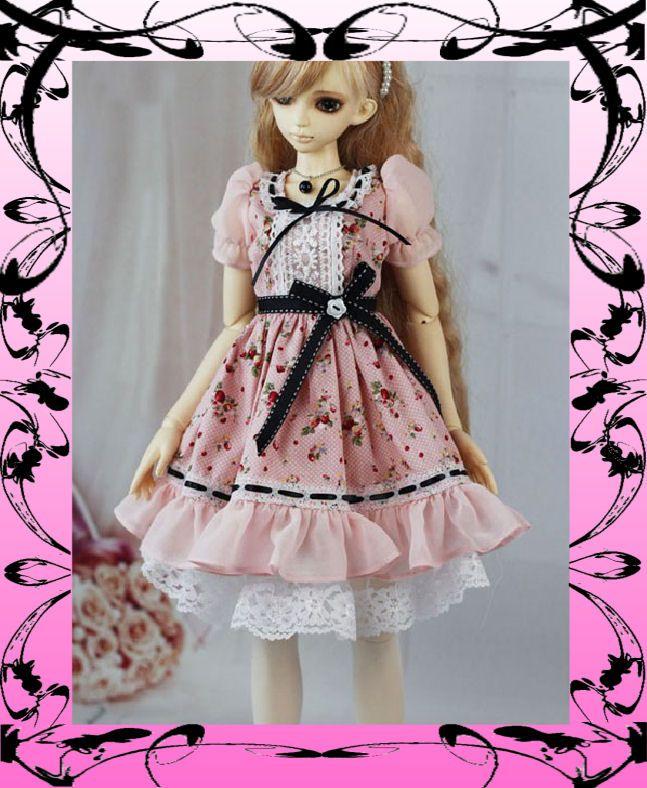 G160 Lolita Dress Pink Strawberry for 1/4 BJD