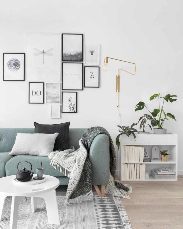 Canapé Bleu Scandinave Design Salon Moderne