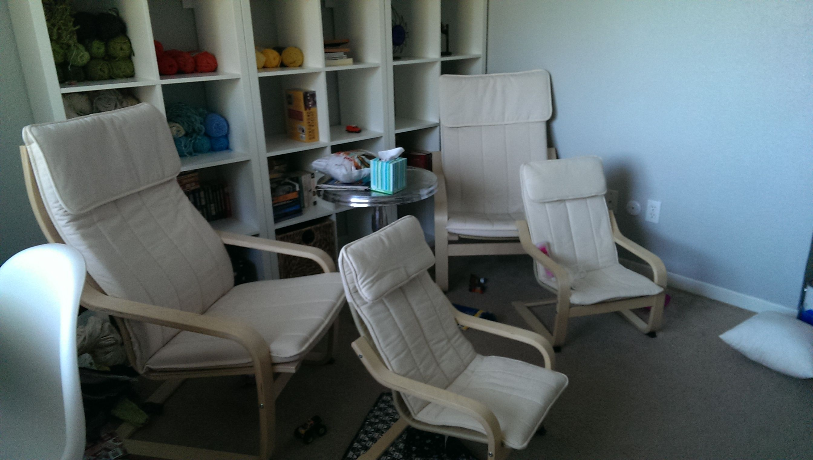 Poang Chairs from Ikea - Crafty husband suggested dying them from white (a pre-kid purchase) to a blue or green for the new house.