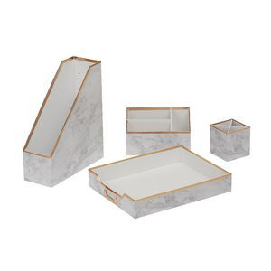 Otto Desk Accessory Set Marble 4 Pack
