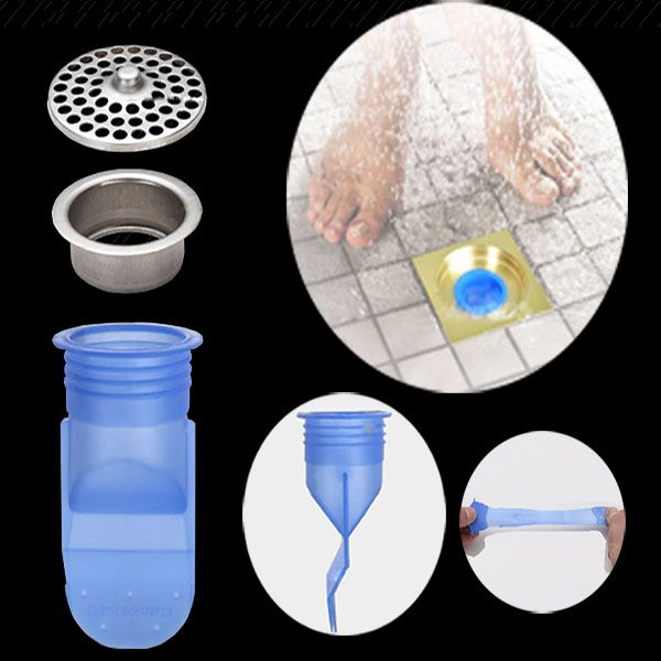 Floor Drain Cover Kitchen Bathroom Sink Silica Gel Deodorant Core
