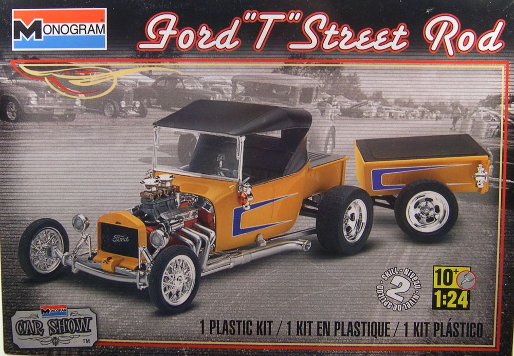 MONOGRAM 124 SCALE MODEL T FORD STREET ROD WITH TRAILER