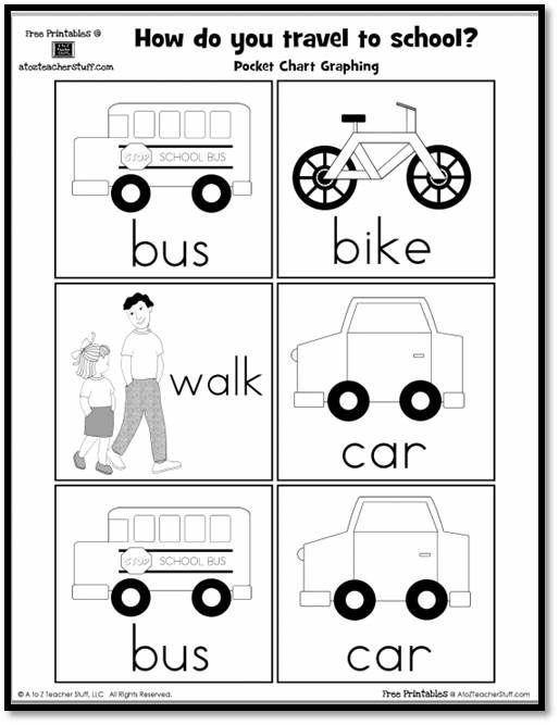 How Do You Travel To School Pocket Chart Graphing Printable Kindergarten Worksheets Preschool Rules Alphabet Kindergarten Travel worksheets for kindergarten