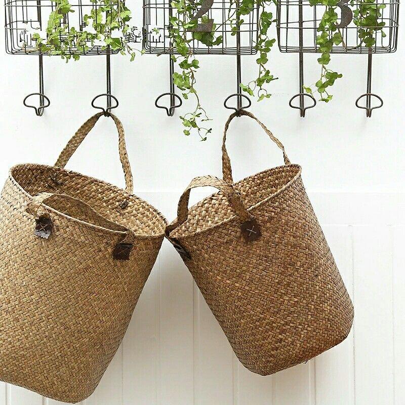 European Creative Sisal Hand Woven Basket Clothes Sundries Toys Storage Rattan Basket Container Storage Holder Straw Barrels