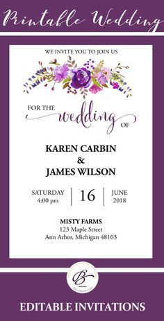 purple wedding invitation template edit and print at home or local