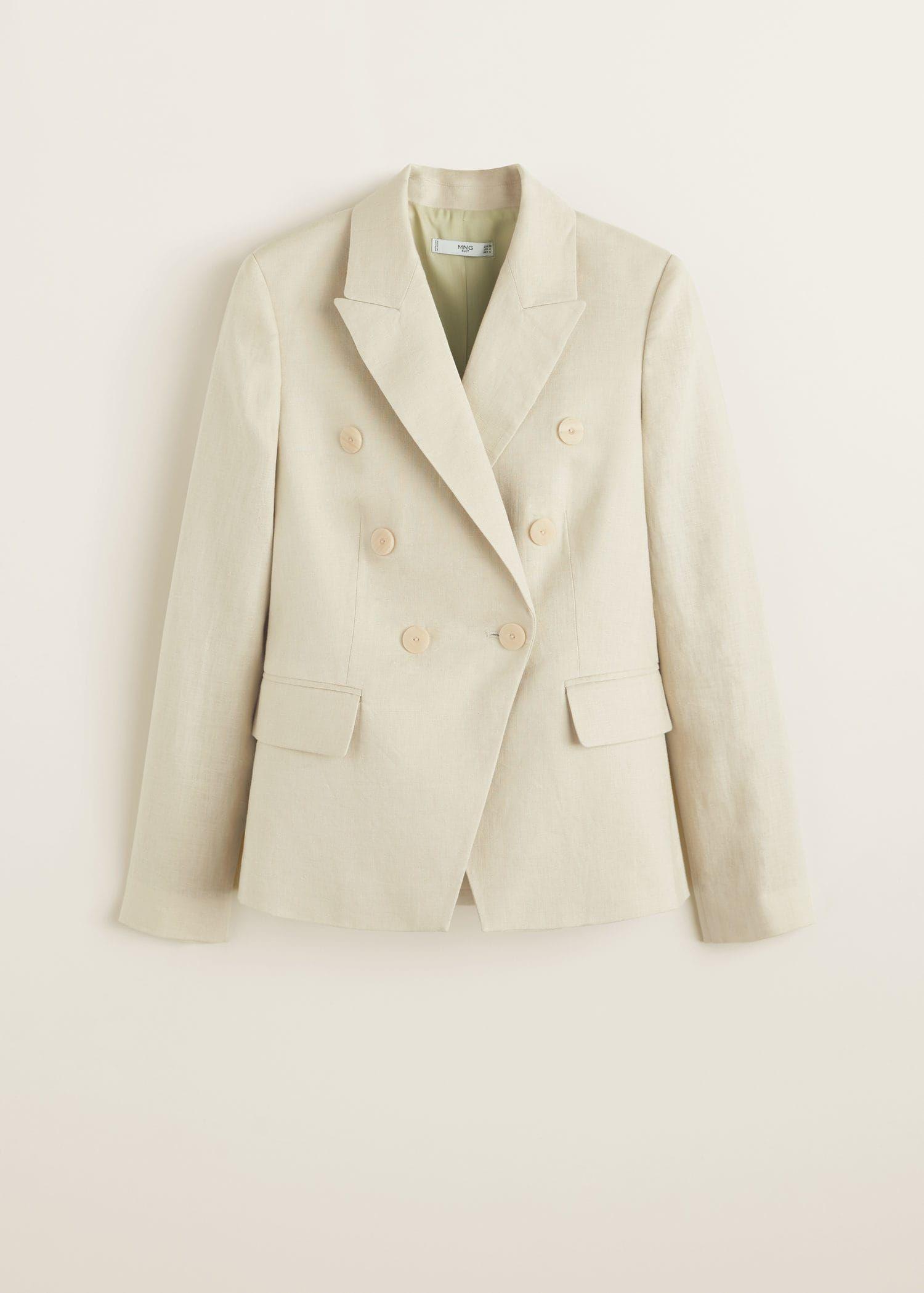 Gestructureerde linnen blazer Dames in 2020 | Linnen