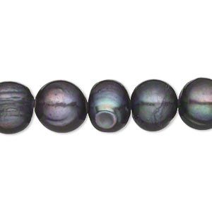 Pearl, cultured freshwater (dyed), twilight, 9-11mm semi-round, D grade, Mohs hardness 2-1/2 to 4. Sold per 15-inch strand.
