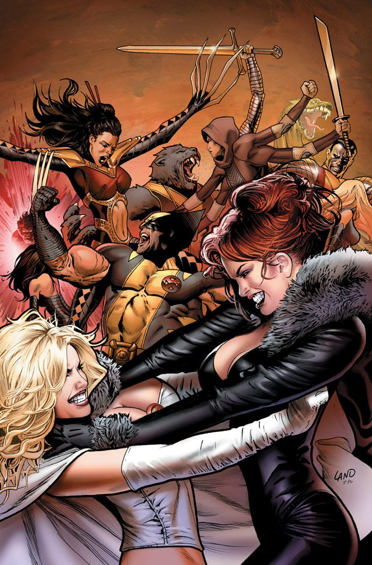 Emma Frost and Madeline Pryor having a cat fight Ms