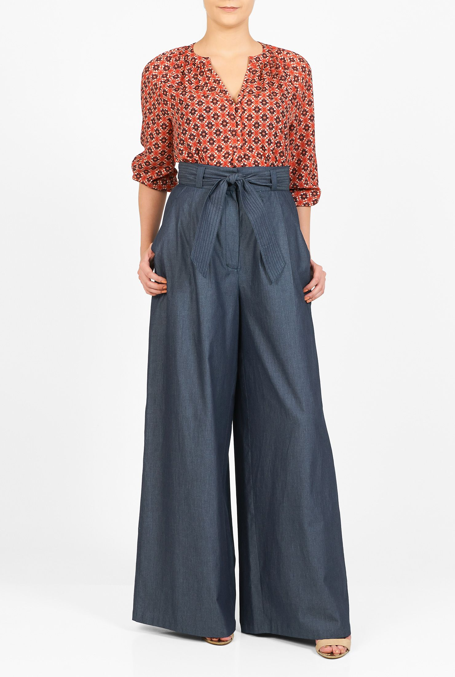 High waisted denim palazzo pants
