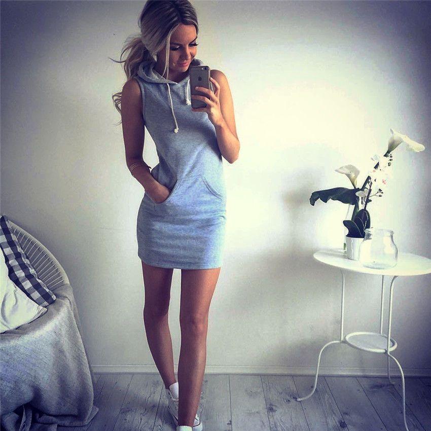 Summer Dress Women Slim Hooded Dress 2016 Gray Pullover Mini Dresses Summer Beach Short Dress Bandage Vestidos With Pocket
