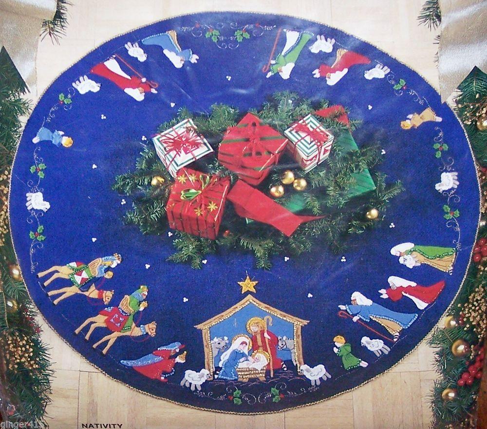 Bucilla Nativity Tree Skirt Felt Christmas Tree Felt Christmas Felt Tree Skirt