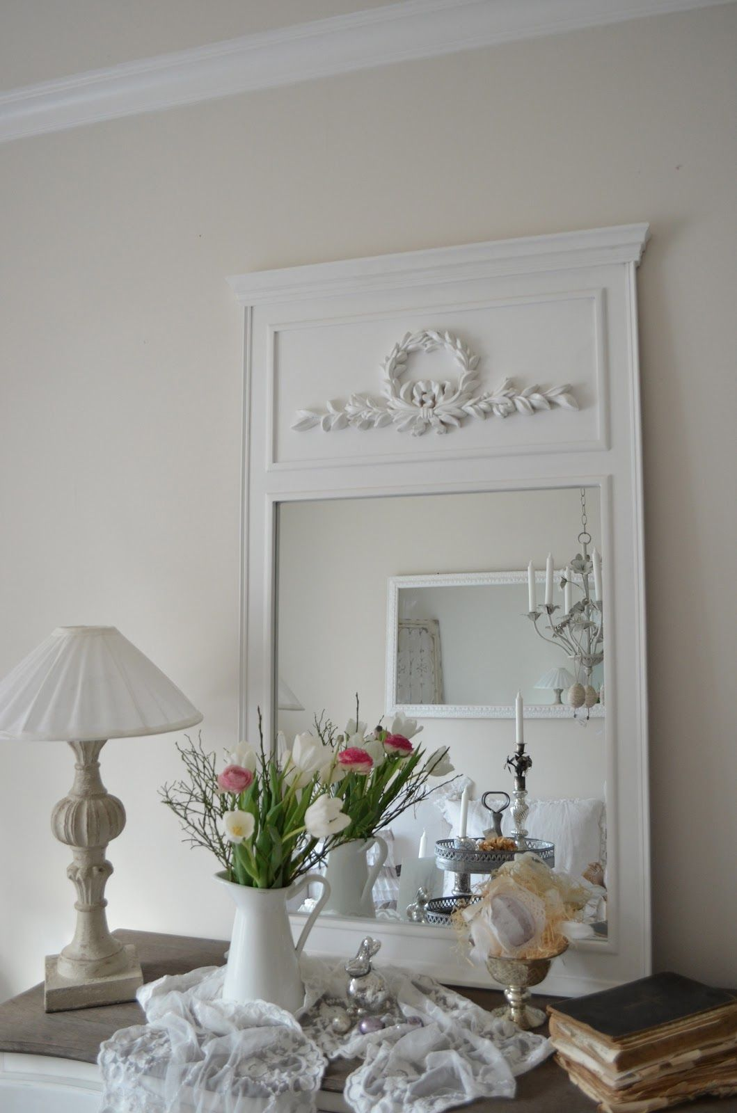 Living Room Mirror, Top Cabinet Décor. White, Grey, Black, Chippy, Shabby Chic, Whitewashed, Cottage, French Country, Rustic, Swedish decor Idea. ***Pinned by oldattic ***.