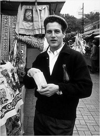 Paul Newman on location, 1956