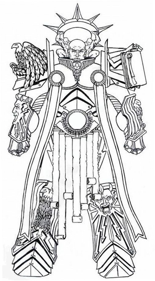 A Remembrancer's sketch of the Primarch Lorgar during the Great Crusade, taken from Carpinus' Speculum Historiale