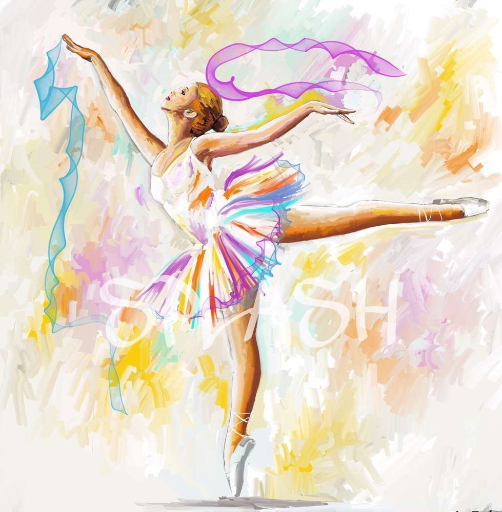 Cuadro moderno de bailarina sobre fondo de colores suaves - Pintar un cuadro moderno ...