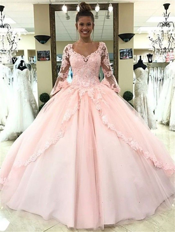 Ball Gown V Neck Light Pink Tulle Lace Prom Dress With Long Sleeves ...