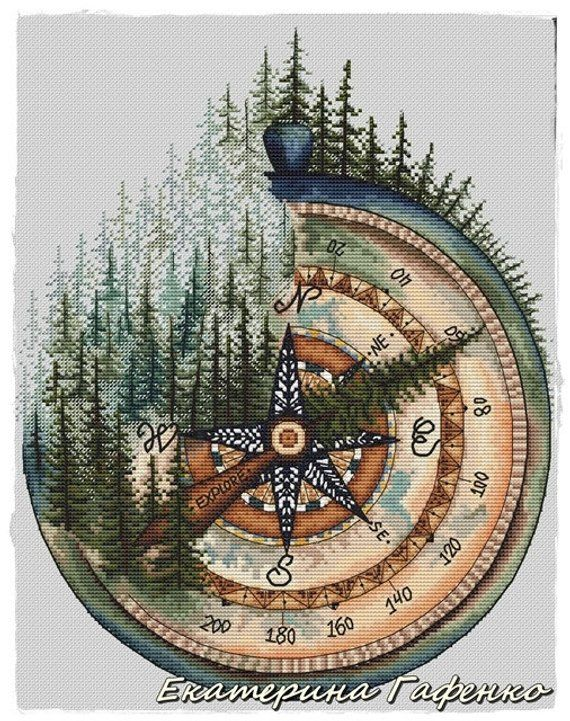 Photo of Canada. Compass.  Cross-stitch design in PDF format, series by RosiesSketchbook