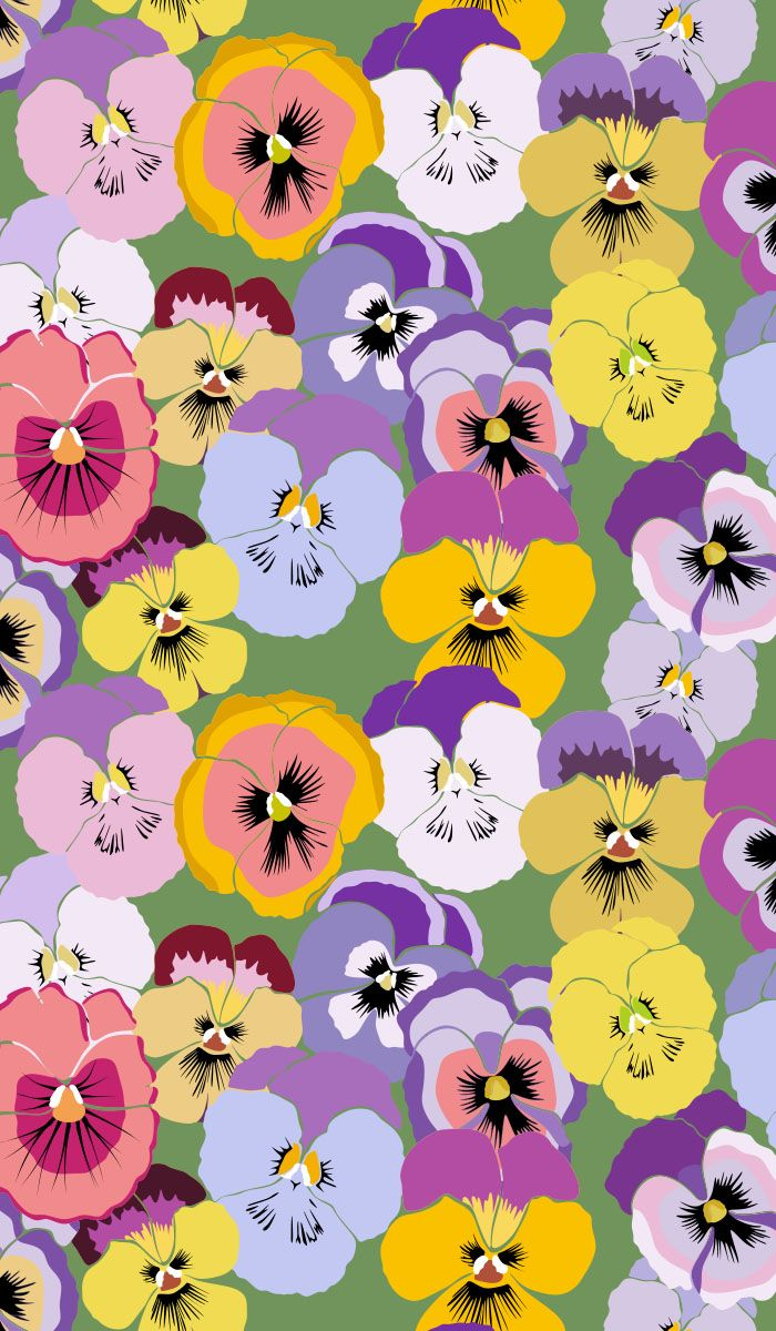 seamless, pansy, floral, art, background, black, black