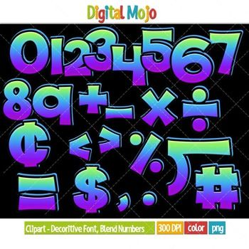 Clipart - Decorative Font, Blend Series 1 Numbers   Clip ...