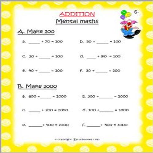 Maths Addition Worksheet 7 Grade 3 Addition worksheets