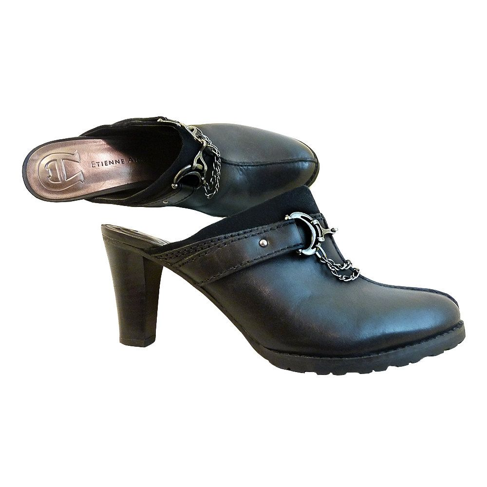 a18177976fda Black Leather w Gun Metal High Heel Clogs Mules    Size 8M US    Etienne  Aigner Buckle Closure Hardware