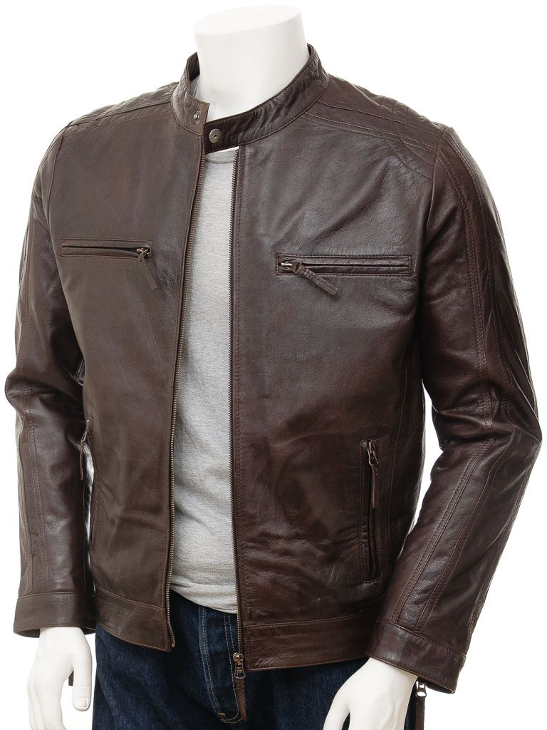 Mens Classic Leather Jacket Blouson Vintage Antique Nubuck Bomber Coat Tan