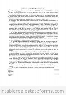 Printable Exchange Agreement And Joint Closing Instructions