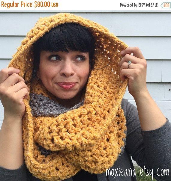 ON SALE Oversized chunky crochet infinity scarf Chunky by Moxieana