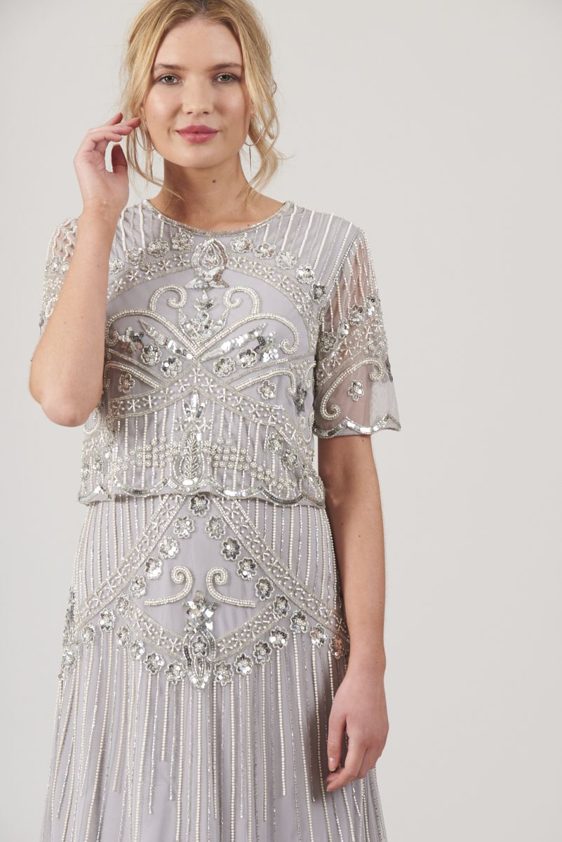 35cd9252513 Frock and Frill Carmin Grey Embellished Midi Dress