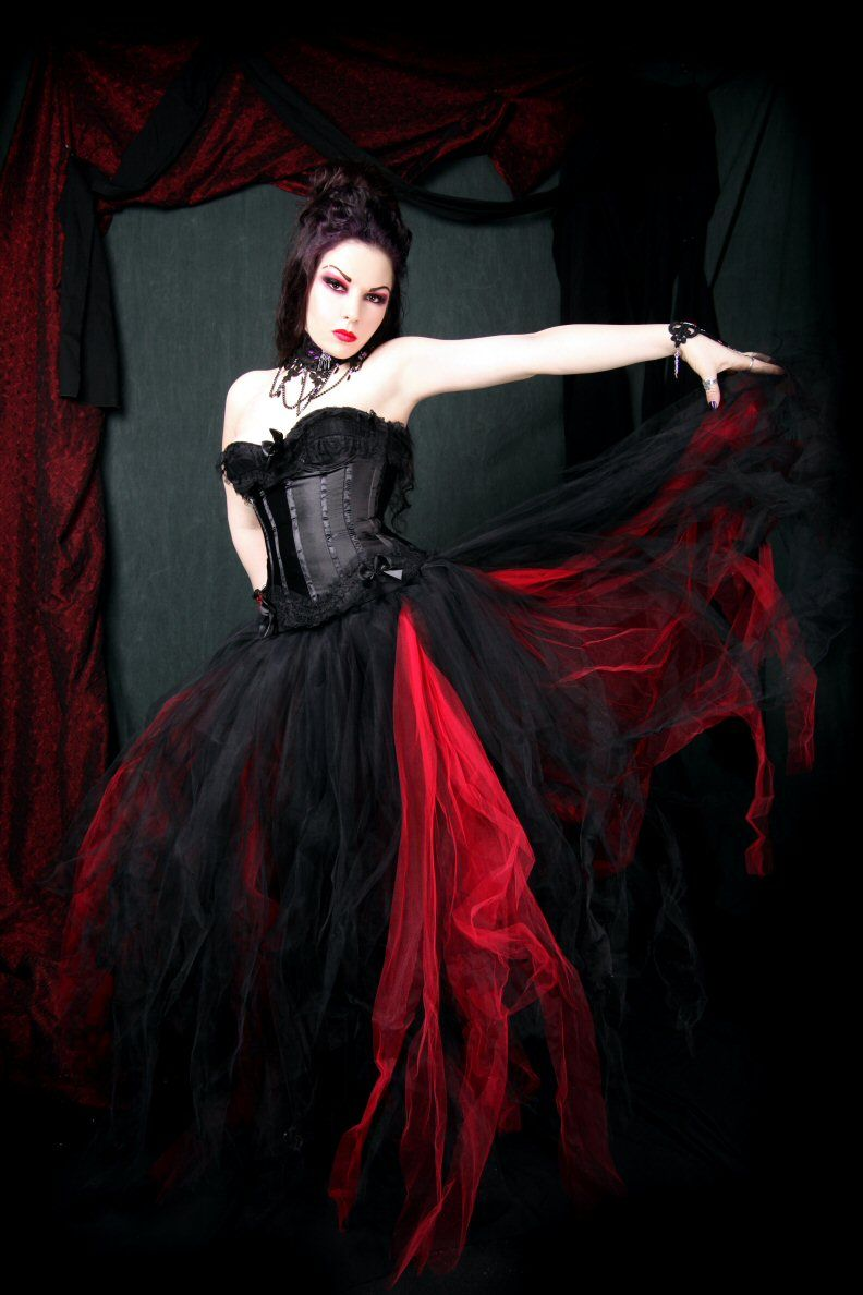 Gothic style wedding dresses  blackred skirt  Gothic  Pinterest  Long tulle skirts Grand