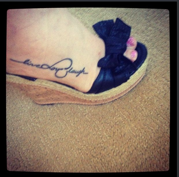 tattoo on outside of foot love placement live love laugh