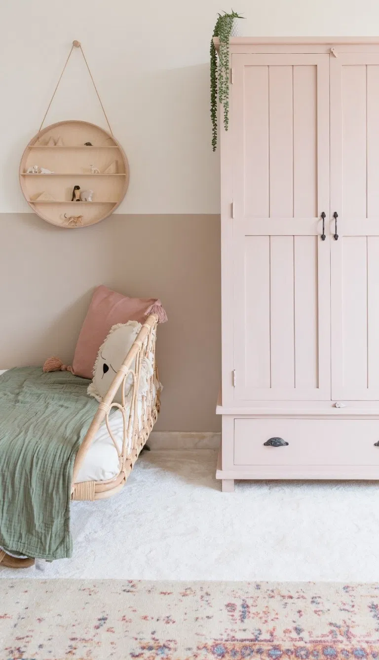 Pink vintage freestanding wardrobe in a child's ro in 2020