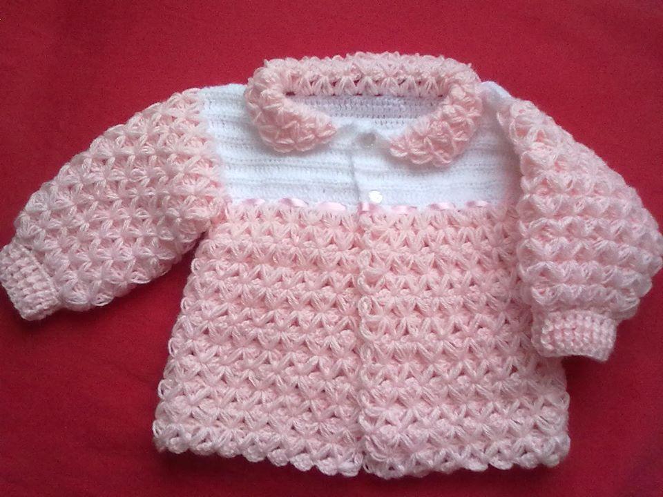 saquito bebe punto asterisco o estrella | Crochet de la web ...