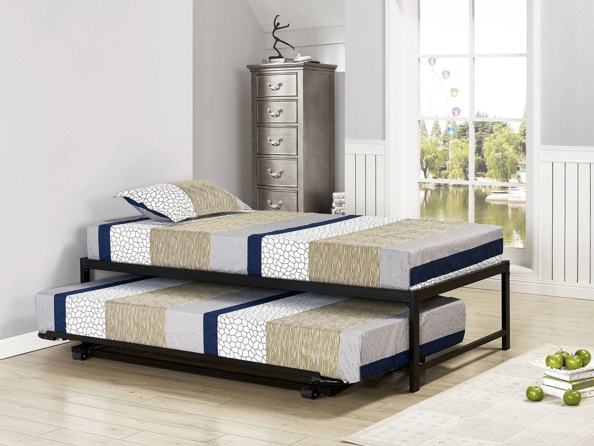 Pilaster Designs 39 Twin Size Black Metal High Riser Bed Frame With Pop Up Trundle Bed Frame Pop Up Trundle Day Bed Frame