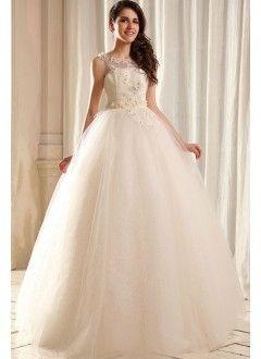 Princess Bateau Floor-length Tulle Vintage Wedding Dress with Beading