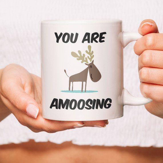 Cute Moose Very Amoosing Coffee Mug Moose Coffee Mug or Moose Coffee Cup Gift