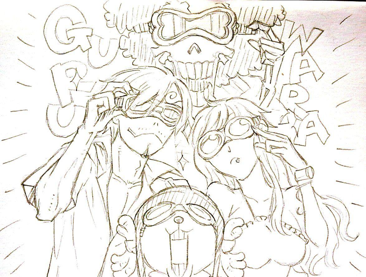One Piece, Straw Hat Pirates, Sanji, Brook, Nami, Chopper