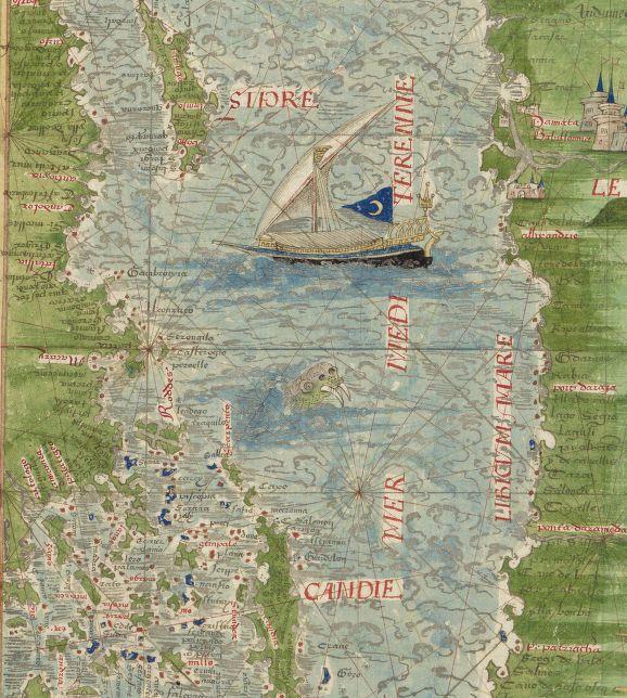 Detail: Cosmographie universelle, selon les navigateurs tant anciens que modernes / par Guillaume Le Testu, pillotte en la mer du Ponent, de la ville francoyse de Grâce.  Le Testu, Guillaume (1509-1572). - 1555