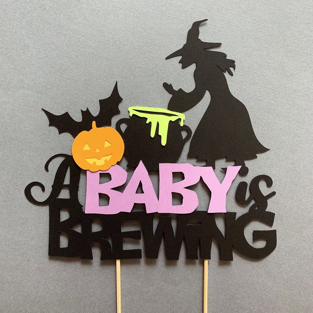 A baby is brewing cake topper october baby shower