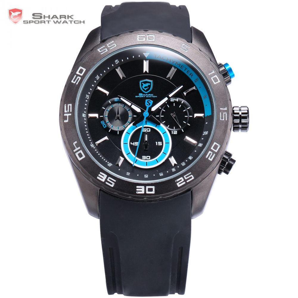US $52.99 - Spinner SHARK Sport Watch Men Clock Relogio Blue Chronograph 24 Hour Display Rubber Band Quartz relogio masculino Watches /SH258