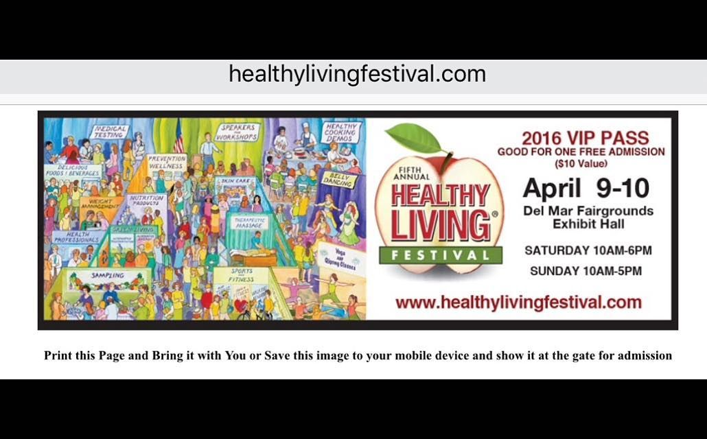 Healthy living Festival this weekend in San Diego at the Del Mar